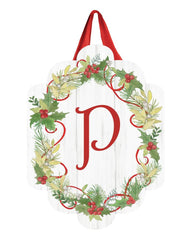 Winterberry Monogram P Door Décor