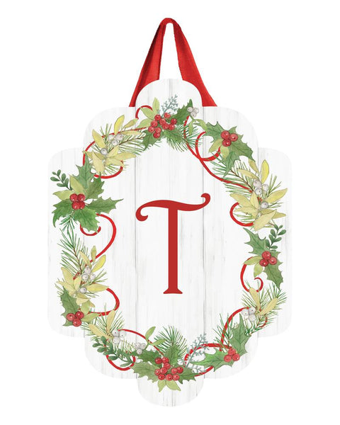 Winterberry Monogram T Door Décor