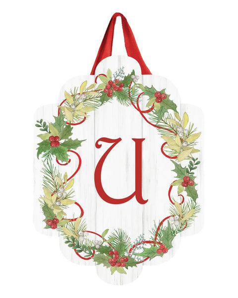 Winterberry Monogram U Door Décor