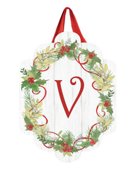 Winterberry Monogram V Door Décor