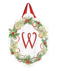 Winterberry Monogram W Door Décor