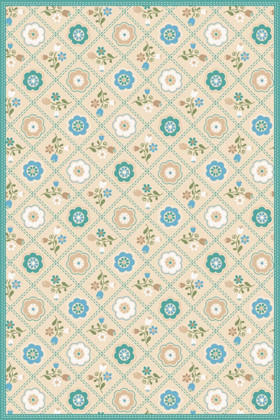 Quilted Floral - Neutral Floor Flair - 4 x 6