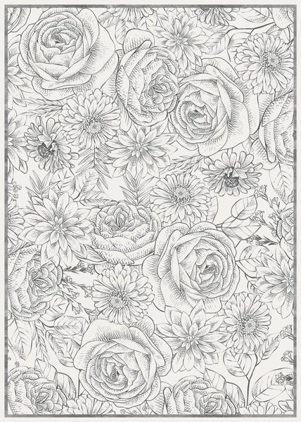Etched Bouquet Floor Flair - 5 x 7