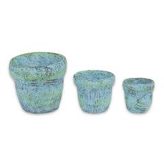Mini Blue Clay Pots S/3 asst.