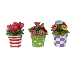 Mini Patterned Potted Flowers S/3 asst.