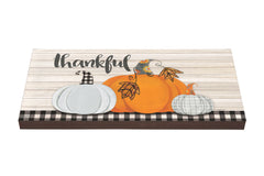 Plaid Pumpkin Art Paver Garden Step
