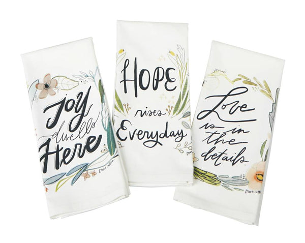 Hope, Love, Joy Tea Towel - Set of 3 Asst.