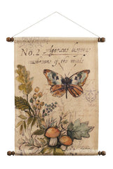 Butterfly with Mushrooms Wall Hanging