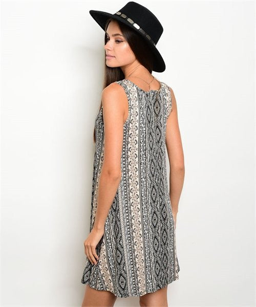 3fbf425f588 Black Tan and white Tribal Dress – Funky Frills Boutique