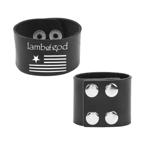 Flag and Logo Leather Wristband