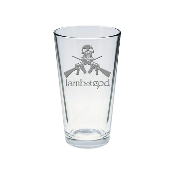 Gun Skull Etched Pint Glass