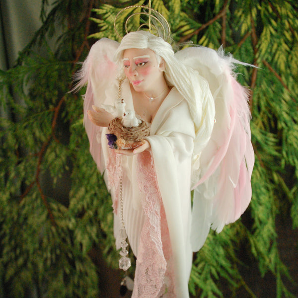Angel with feather wings holding doves in a birds nest-Hanging Ornament-kenfolks