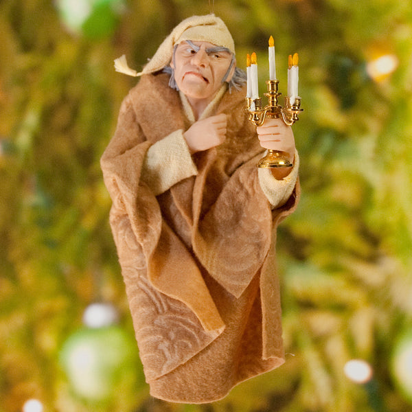 Ebenezer Scrooge Christmas Decoration - Charles Dickens Collectable - in a wool blanket & nightcap holding a candelabra - HandmadeSculpture-Hanging Ornament-kenfolks