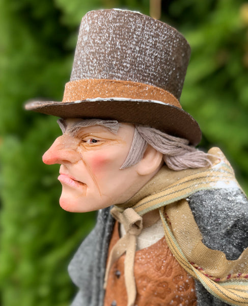 Ebenezer Scrooge Christmas Decoration - Charles Dickens Collectable - Standing Figure Top Hat and Cane - Handmade Sculpture-Limited Edition-kenfolks