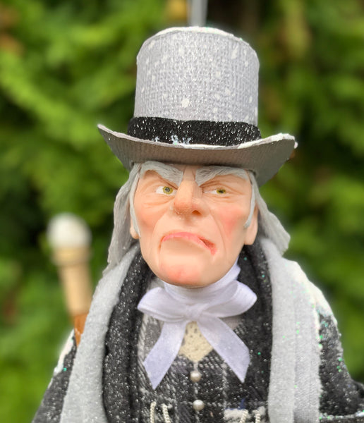 Ebenezer Scrooge Christmas Decoration - Charles Dickens Collectable - Top Hat and Cane - HandmadeSculpture-Limited Edition-kenfolks