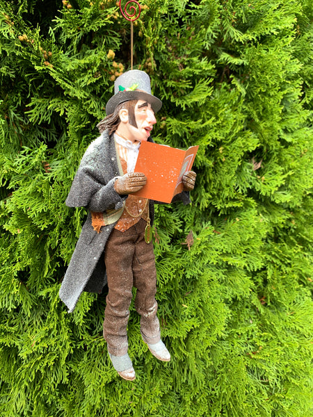 A Christmas Carol hanging ornament - Caroller singing for you - Charles Dickens - Perfect gift for collectors - Completely Handmade Christmas Ornament-Limited Edition-kenfolks