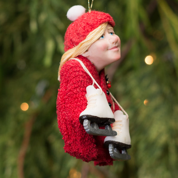 Christmas Ice Skates Hanging ornament - Little girl with skates hanging around her neck - Hand Knit toque 2 colour options-Limited Edition-kenfolks