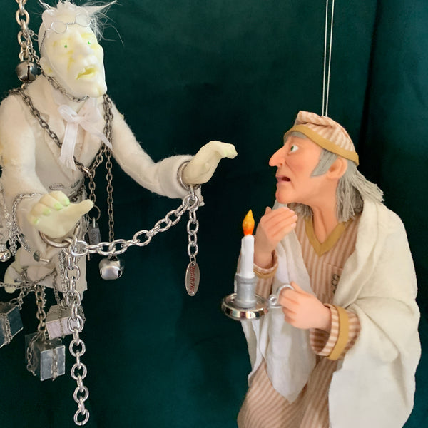 Scrooge and Marley's Ghost - Christmas Decoration - Charles Dickens Collectable - Full figure sculptures for interactive display.-Limited Edition-kenfolks
