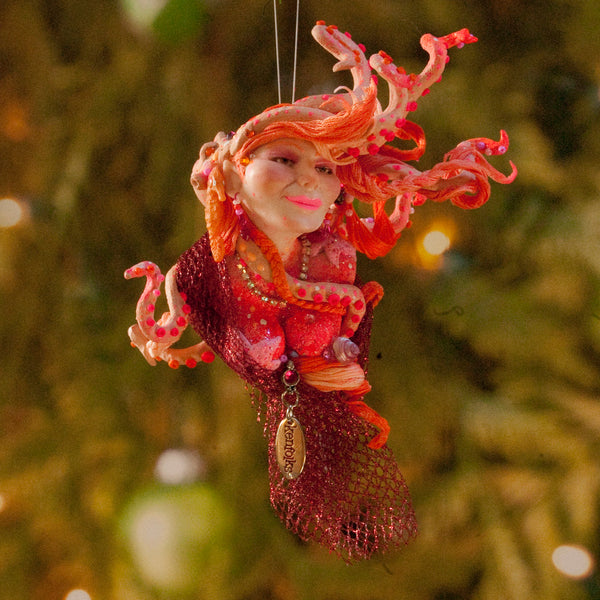 Mermaid hanging ornament - Coral and red colour - Christmas decor for true mermaid collectors - Handmade Christmas-Limited Edition-kenfolks