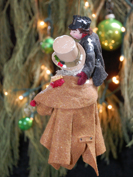 Happy Scrooge and Tiny TIm-Hanging Ornament-kenfolks