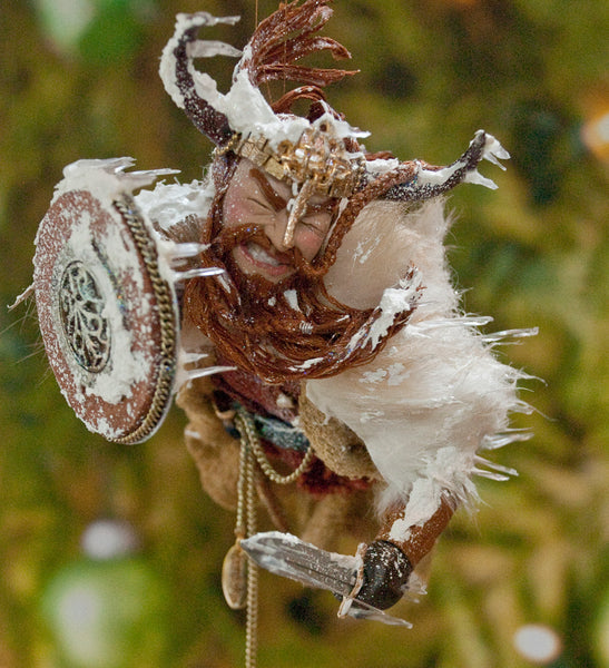 Viking Snowstorm - History comes to life. a spectacular handmade Original sculpture. Hanging Christmas Ornament or Collectable Artwork by Ken Fedoruk Active-Original Art-kenfolks