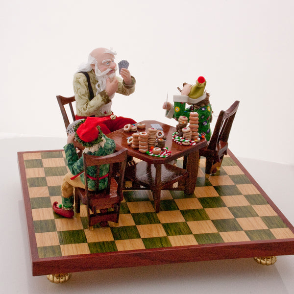Santa playing poker - The elves have a few tricks up their sleeves-Original Art-kenfolks