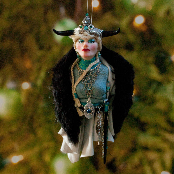 Viking Hanging Ornament, female warrior with black horn helmet and fur cloak-Original Art-kenfolks
