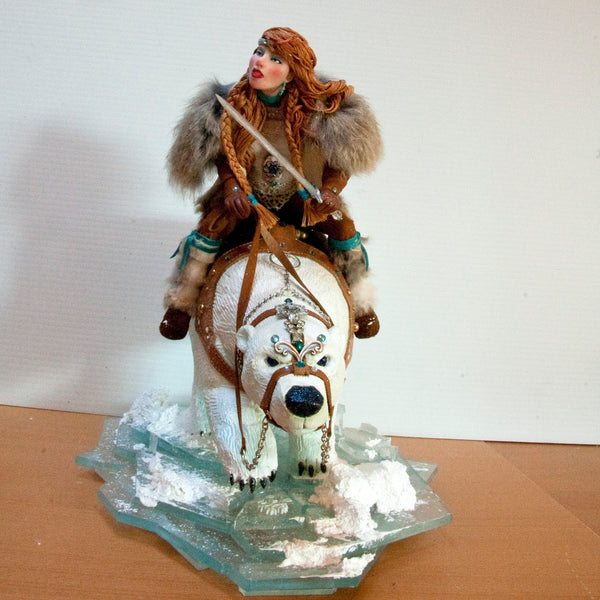Snow Queen - Arctic Warriors, Female Norse warrior riding a Polar Bear-Original Art-kenfolks