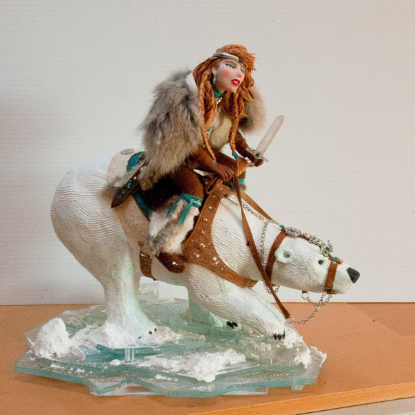 Snow Queen - Arctic Warriors, Female Norse warrior riding a Polar Bear-Home Decor-kenfolks