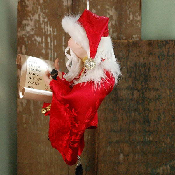 Santa Claus - checking his naughty or nice list Hanging Ornament - Personalized-Hanging Ornament-kenfolks