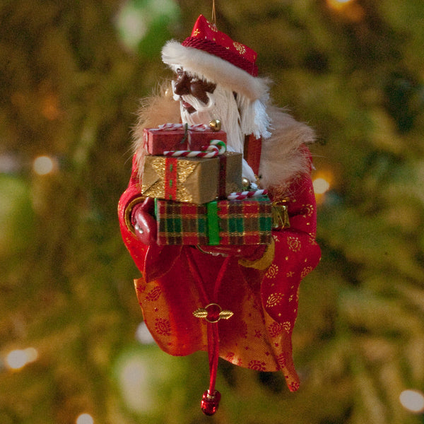 African American Santa Claus Decoration - Arm full of Christmas presents - Richly textured fur trimmed red and gold coat & cap - Golden mittens-Limited Edition-kenfolks