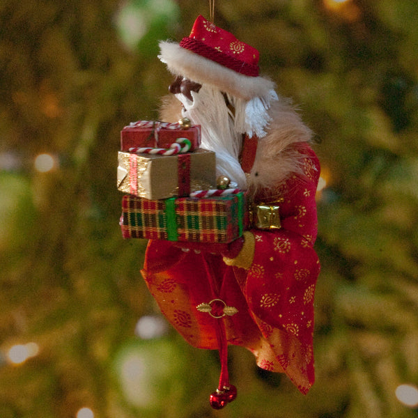 Black Santa Claus Decoration - Arm full of Christmas presents - Richly textured fur trimmed red and gold coat & cap - Golden mittens-kenfolks