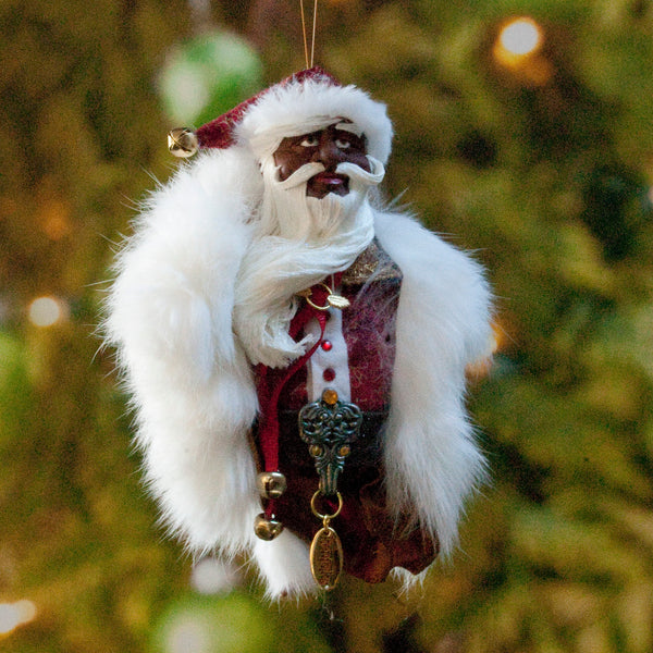 Black Santa Claus - Christmas Decoration - Richly textured fur trimmed red and gold coat & cap-kenfolks