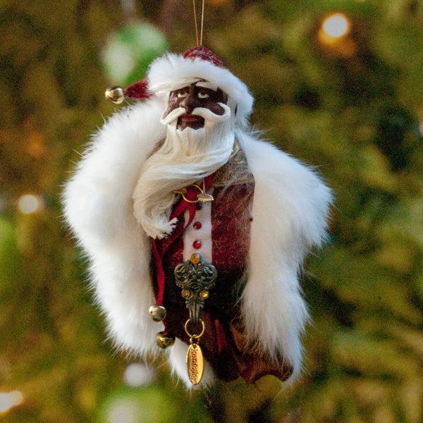Black Santa Claus - Christmas Decoration - Richly textured fur trimmed red and gold coat & cap-Limited Edition-kenfolks
