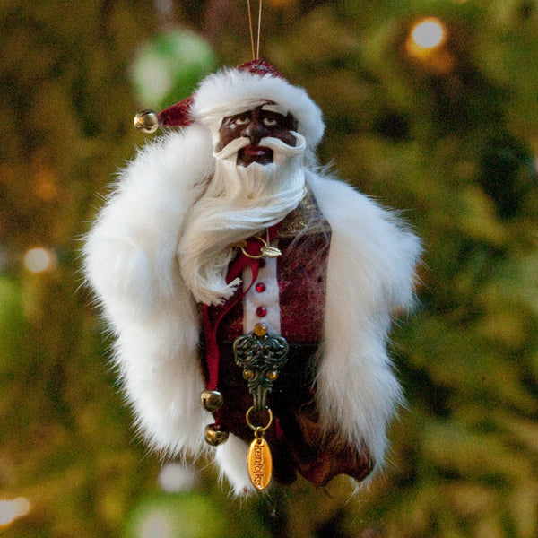African American Santa Claus - Christmas Decoration - Richly textured fur trimmed red and gold coat & cap-Limited Edition-kenfolks