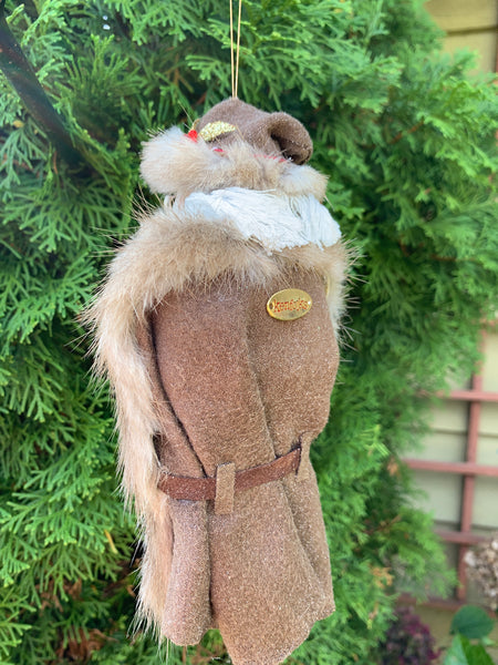 Santa Claus - Fur trimmed wool parka - Natural Santa - Nature Christmas Decor-Limited Edition-kenfolks