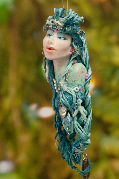 Mermaid hanging ornament - Teal blue colour - Christmas decor for true mermaid collectors - Handmade Christmas-Limited Edition-kenfolks