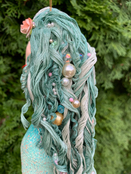 Mermaid hanging ornament - Aqua Blue - True mermaid collectors - Handmade Christmas-Limited Edition-kenfolks