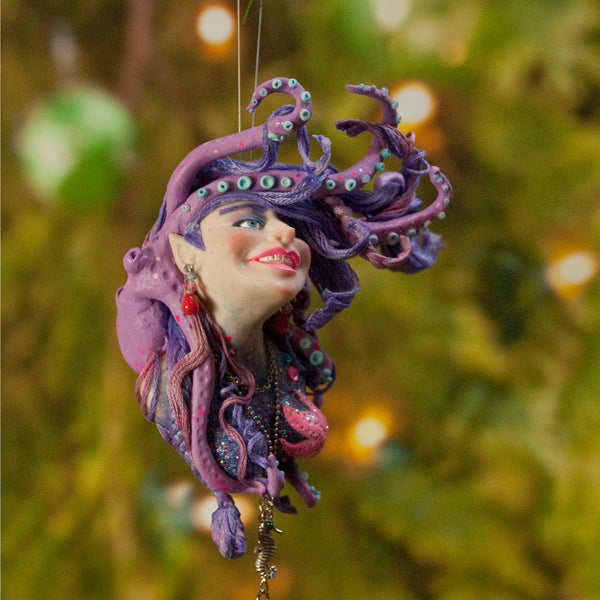 Mermaid hanging ornament - Purple and Pink colour - Christmas decor for true mermaid collectors - Handmade Christmas-Limited Edition-kenfolks
