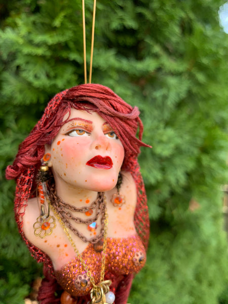 Mermaid hanging ornament - Red Copper colour - Christmas decor for mermaid collectors-Limited Edition-kenfolks