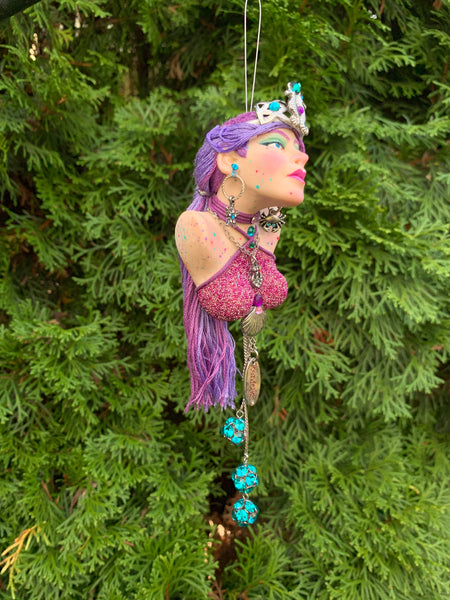 Mermaid hanging ornament - Purple and pink collectible-Limited Edition-kenfolks