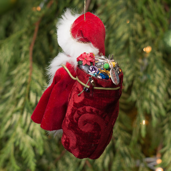 Santa Claus - Red sac full of presents. Handmade Christmas collectable 1-Hanging Ornament-kenfolks
