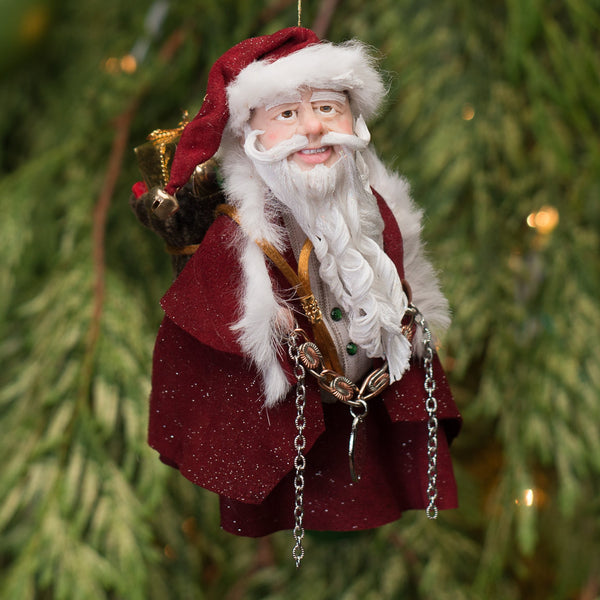 Santa Claus - With big sac full of toys. Handmade Christmas-Hanging Ornament-kenfolks