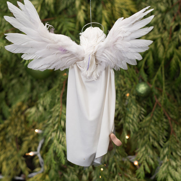 Treetop Angel with feather wings Handmade Christmas-Hanging Ornament-kenfolks