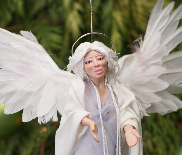 Treetop Angel with feather wings Handmade Christmas-Limited Edition-kenfolks