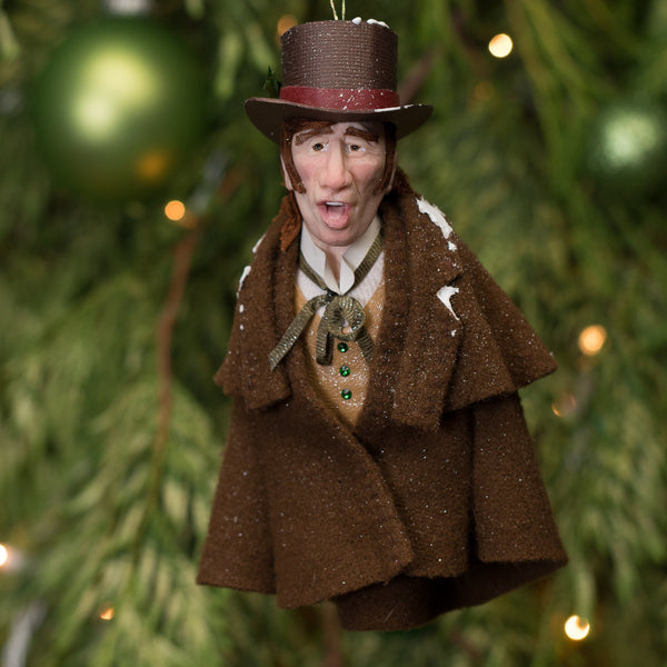 Christmas Caroller brown coat - Handmade Christmas by Ken Fedoruk-Hanging Ornament-kenfolks