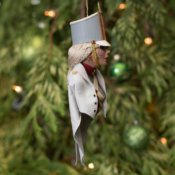 Nutcracker Ornament Toy Soldier - Hanging Christmas Nutcracker Decoration in Grey and white - handmade original sculpture and costume-Hanging Ornament-kenfolks