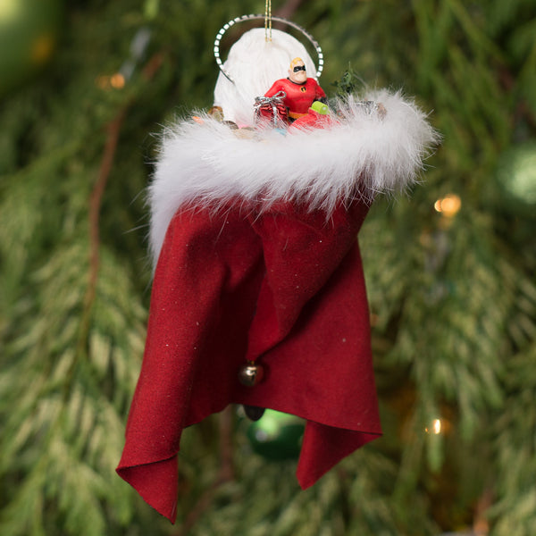 Saint Nick - Santa Claus - Hooded red cloak full of toys. Handmade-Hanging Ornament-kenfolks