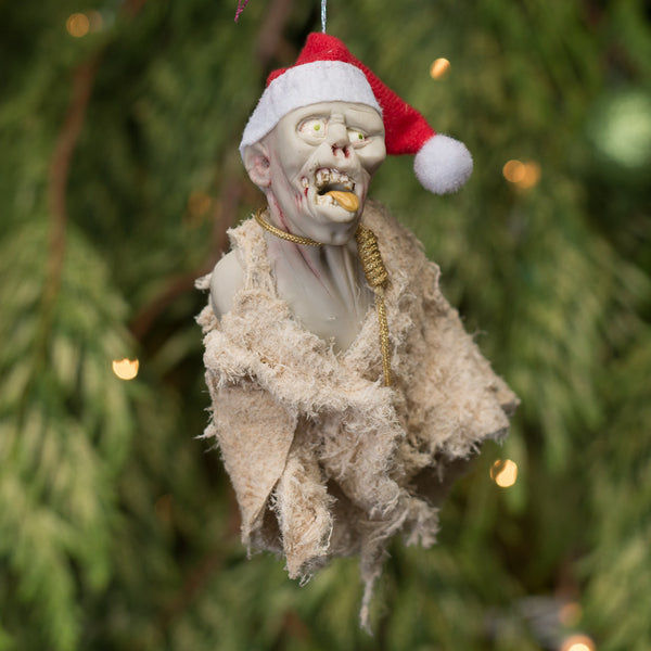 Zombie elf with mouth wide open ready to devour - Creepy collection of ornaments. Handmade Christmas-Hanging Ornament-kenfolks