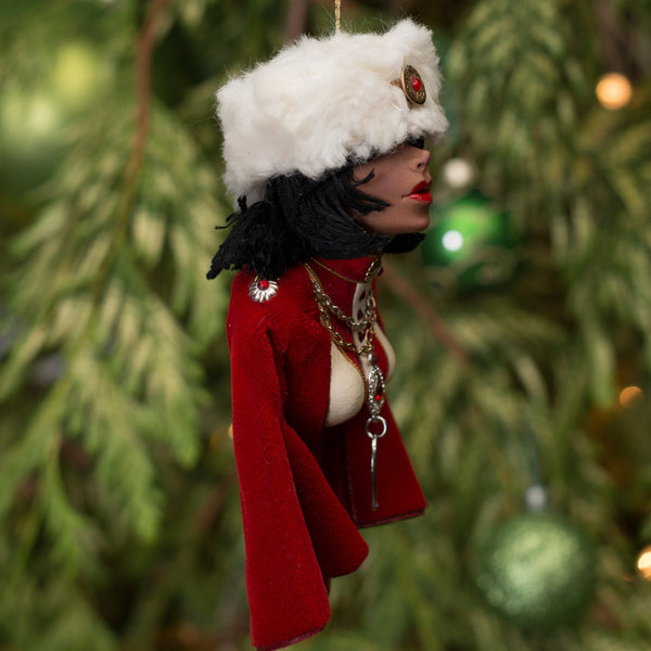 Nutcracker Gift Decoration - Russian with fur hat, red cape, and generous display of jewels. Completely handmade original sculpture-Original Art-kenfolks